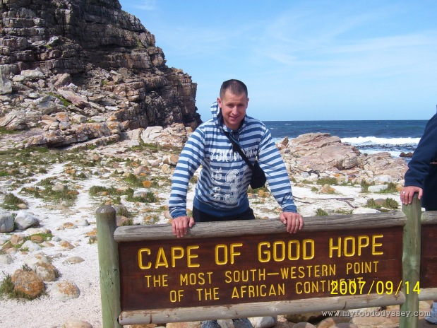 We made it to the tip. Arūnas at the Cape of Good Hope, South Africa, September 2007.