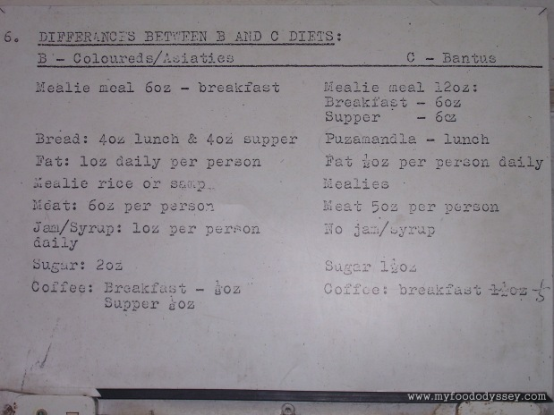 A sample of the apartheid menu for prisoners at Robben Island. Cape Town, South Africa, September 2007.