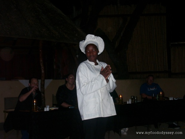 It was always a pleasure listening to the chef describing the wonders we were about to eat. Kruger National Park, South Africa, September 2007.