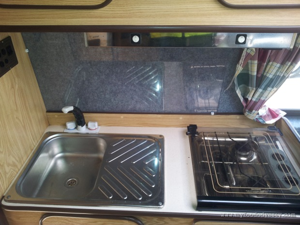 The sink & hob