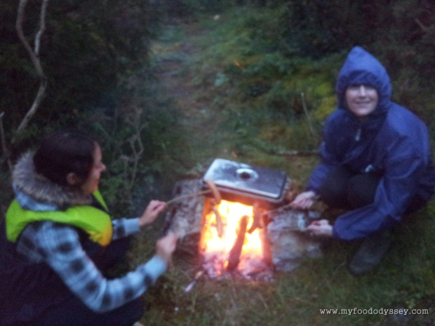 It may be windy and cold, but I'm still loving this! Cooking a few sausages while we wait for the fish to smoke. Lough Derg, September 2012.