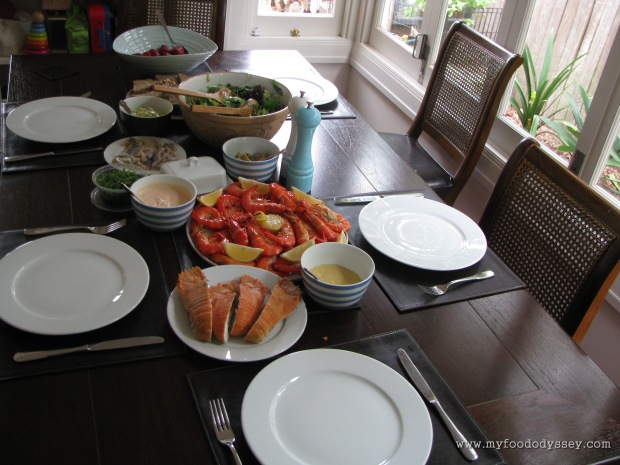 Christmas lunch of juicy prawns and Balmain bugs (a type of clawless lobster). Australia, Christmas 2009/10.