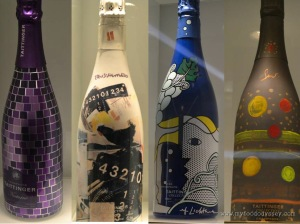 A selection of the art-deco bottles at Taittinger.
