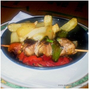 Nico's simple but excellent pork loin kebab.