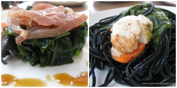 Cured tuna with seaweed and scallop with squid-ink pasta, Seville.