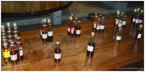 Cognac blending. The individual brandies are grouped in batches of five. The resultant blends are then further blended to create the final product.
