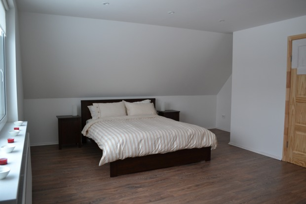 West bedroom. Featured IKEA items include BRUSALI bed and side tables and