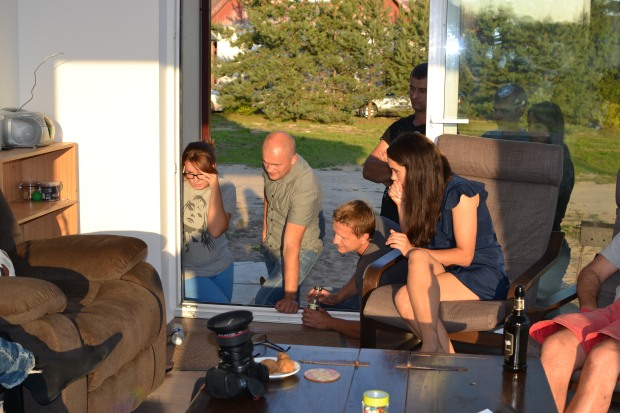 Summer barbecue. Lithuania was in the final of the Basketball World Championships and so that was being watched on a laptop in the corner. Featured IKEA items include POANG chairs.