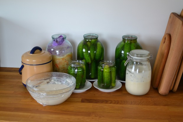 My fermentation station, pretty much a permanent feature in my kitchen. Here we have sauerkraut, pickles, sourdough and yoghurt. Featured IKEA items include HAMMARP worktop and KORKEN storage jar.
