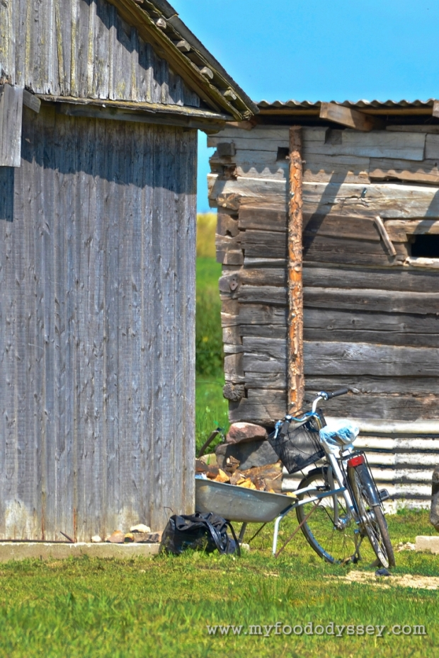 Bike against wooden house, Lithuania | www.myfoododyssey.com