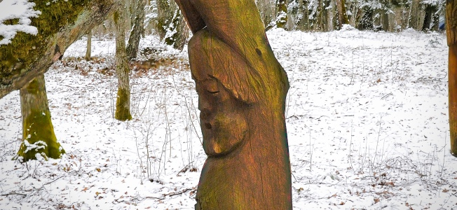 Man Holding Tree Carving, Lithuania | www.myfoododyssey.com