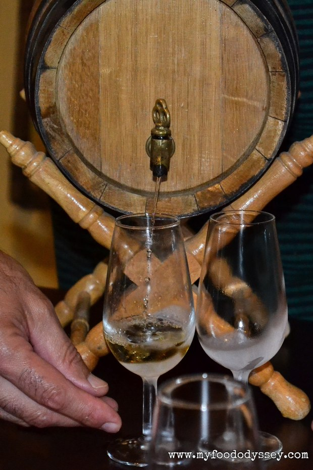 Pouring sherry from cask | www.myfoododyssey.com