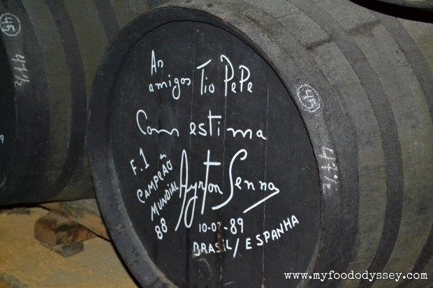 Tio Pepe Barrel signed by Ayrton Senna | www.myfoododyssey,com